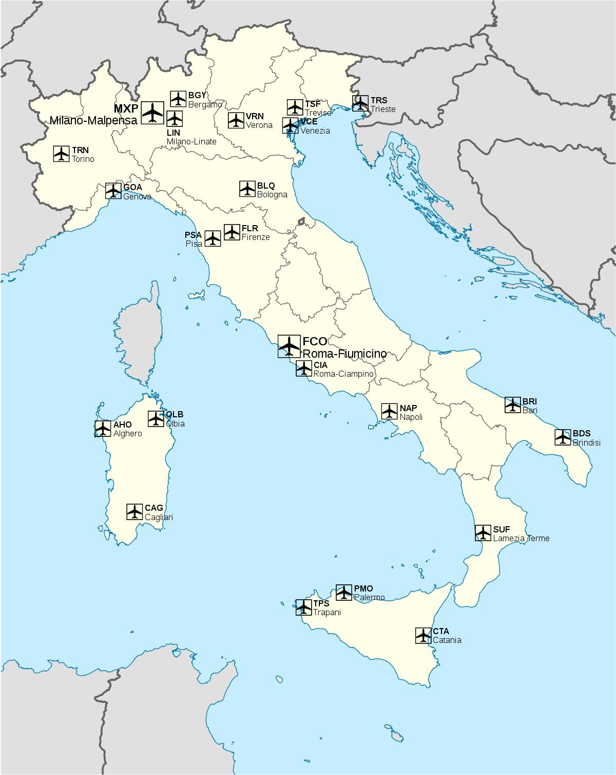 Italien Flughafen Map Internationale Flughafen In Italien Karte