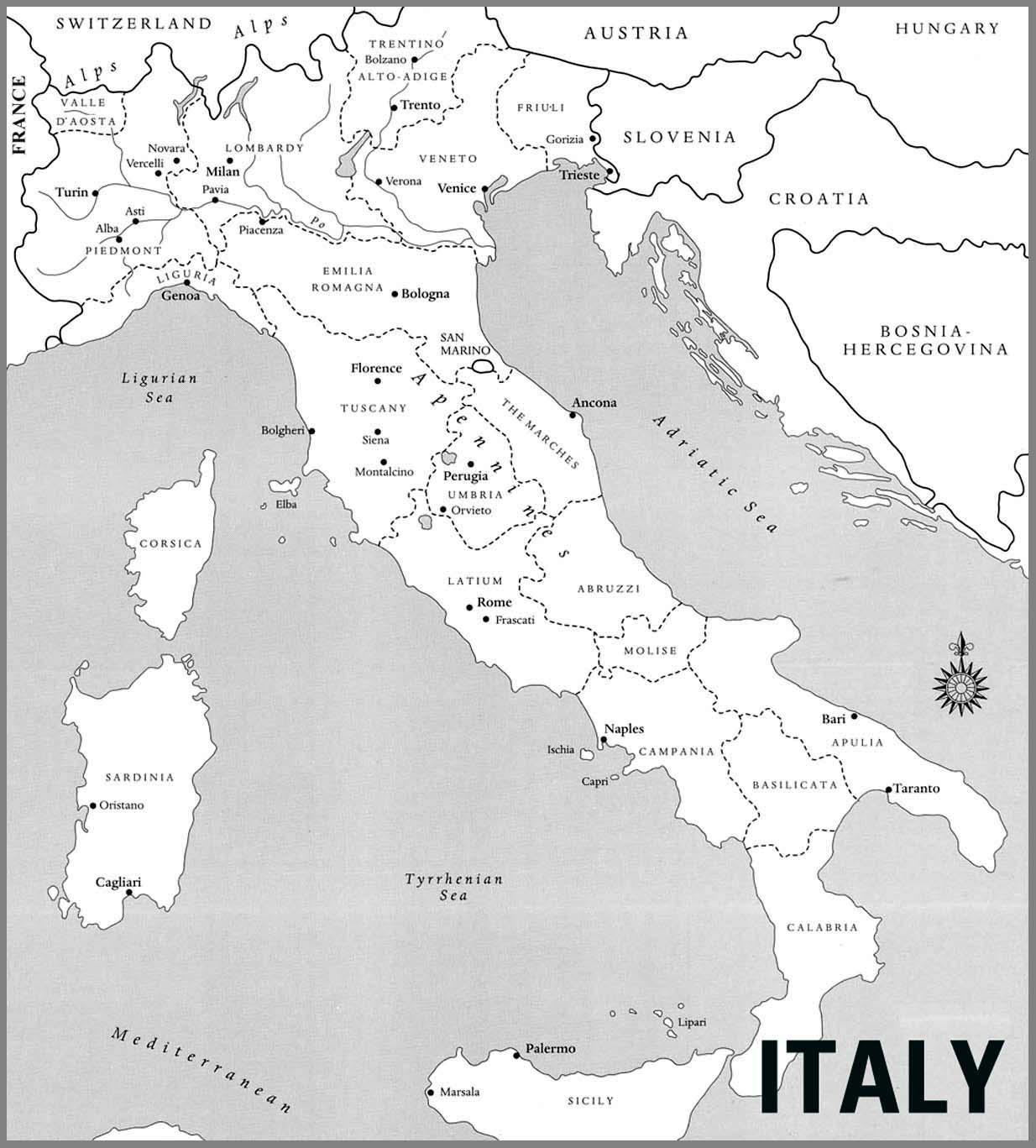 Karte Europa Schwarz Weiss.Italien Landkarte In Schwarz Und Weiss Karte Von Italien In