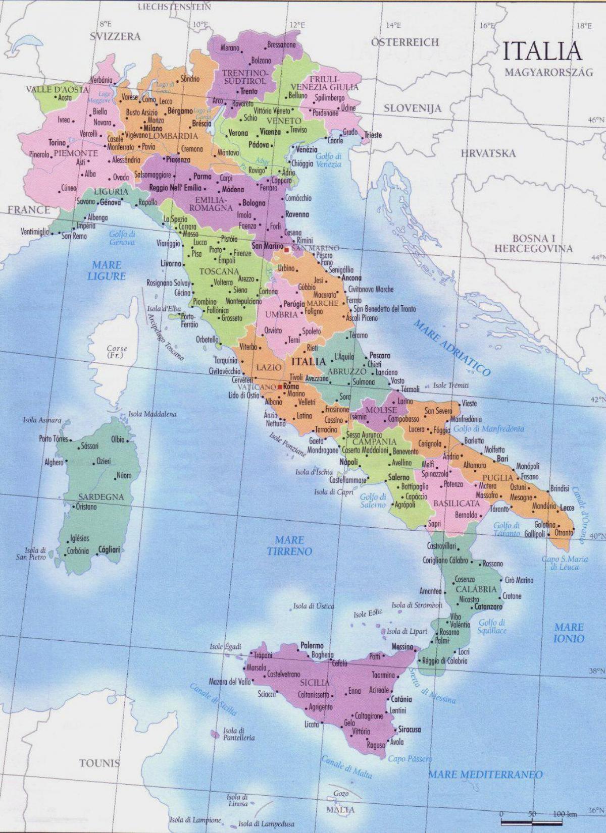 Karte Italien Regionen.Karte Von Italien Regionen Detaillierte Karte Von Italien Regionen