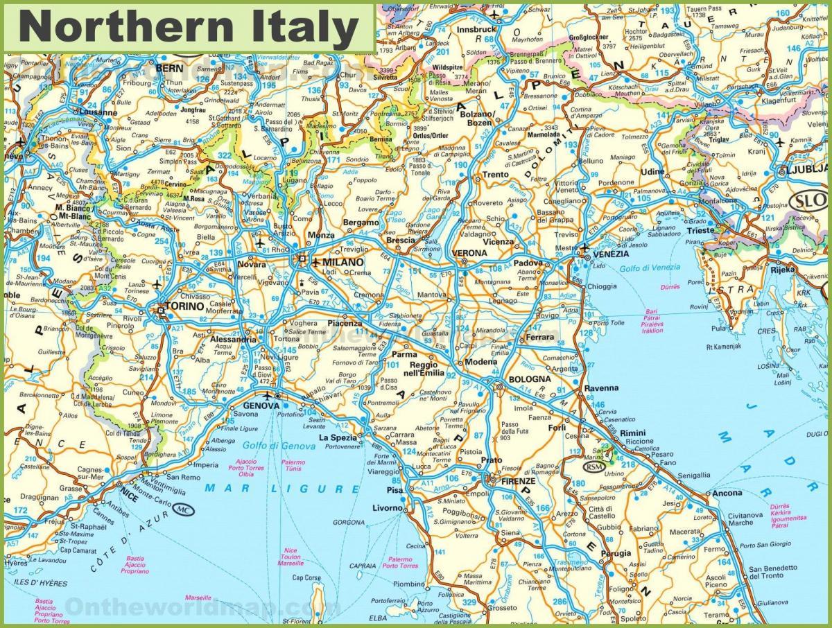 Norditalien Karte.Strassenkarte Von Nord Italien Zeigen Sie Mir Eine Karte